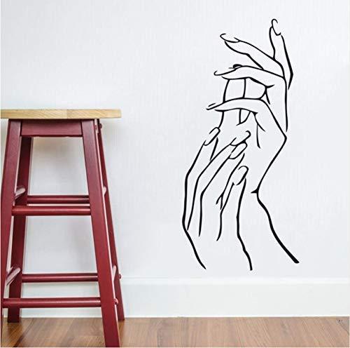 Salon de beauté Decor Wall Sticker Femme Femme Fille Mains Spa Manucure Décor Art Vinyle Autocollant Nail Salon Mur Art Mural 26X57Cm