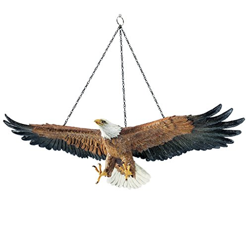 Design Toscano Flight of Freedom American Bald Eagle Hanging Bird Statue, 19 Inch, Polyresin, Full Color