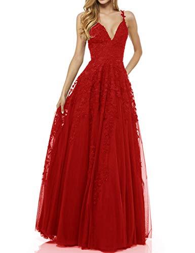 LuckyShe Damen Sexy V-Ausschnitt Abendkleider Ballkleid Elegant für Hochzeit Lang 2018 Rot Größe 36