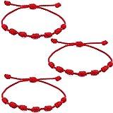 6 pezzi Braccialetto con 7 nodi Bracciale Kabbalah Bracciale di Corda Rossa in Cordoncino di Rosso Bracciale Corda Regolabile Per la Protezione Contro il Malocchio Portafortuna per Uomo e Donna