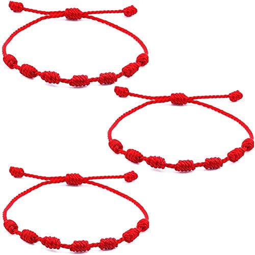 6pcs Pulsera Kabbalah 7 Nudos Pulsera de Cuerda Kabbalah Pulsera Roja Brazalete Trenzada Cordón Ajustable por Hombre Mujer Protección de Mal de Ojo Buena Suerte Good Luck