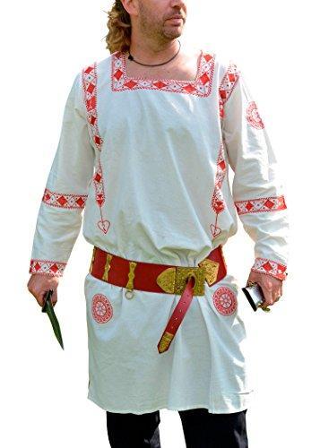 Römische Langarm-Tunika, rot Bestickt, 100% Baumwolle - Manicata - Reenactment - LARP Größe M