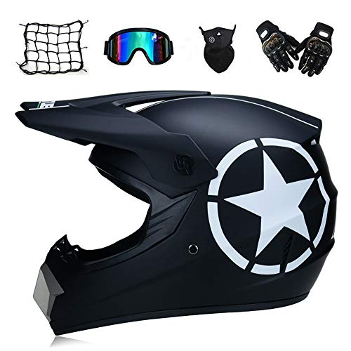 MRDEAR Casco Motocross Negro, Casco Moto Cross Niño con Gafas Máscara Guantes Red Elástica, Casco Off Road para MX Quad ATV Scooter Enduro (S, M, L, XL),L