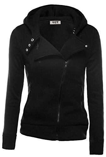 DJT Womens Casual Oblique Zipper Hoodie Jacket Coat Medium Black