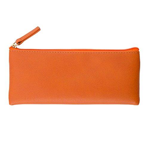 Jingyuu Trousse zippée solide Couleur Make Up Pouch Sac papeterie simple Coque pour cosmétique 8 * 19CM Orange