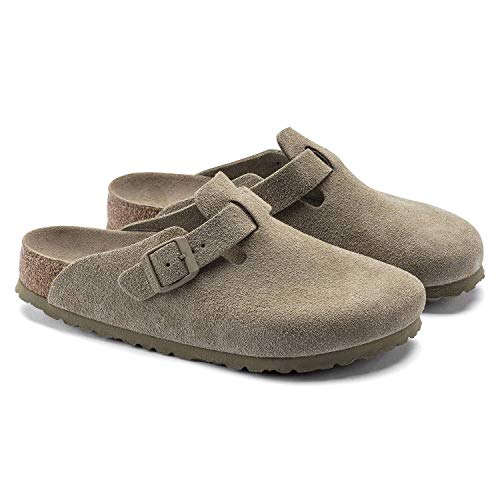Birkenstock Boston Faded Khaki Pelle Scamosciata Zoccoli in Pelle Morbida Sottopiede Unisex Adulti EU(36)