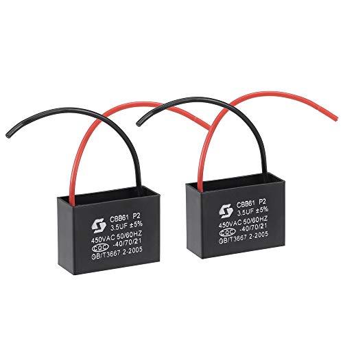 sourcing map Techo Ventilador Condensador CBB61 3.5uF 450V AC 2 Cables Metalizado Polipropileno Película Condensador 43x31x18mm para Eléctrico Ventilador Bomba Motor Generador 2uds