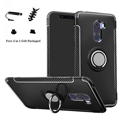 LFDZ Xiaomi Pocophone F1 Anillo Soporte Funda 360 Grados Giratorio Ring Grip con Gel TPU Case Carcasa Fundas para Xiaomi Pocophone F1 Smartphone(con 4 en 1 Regalo empaquetado),Negro