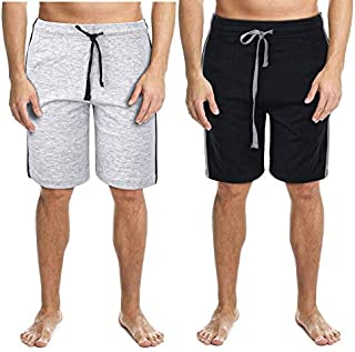 2 Pack Men's Lounge Wear Shorts Nightwear Super Soft Comfy Cotton Pyjama Bottoms