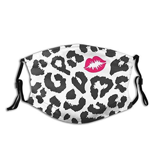 JISMUCI Gesichtsbedeckung,Leopard Cheetah Animal Print mit Kussform Lippenstift Mark Dotted Trend Art,Sturmhaube Unisex Wiederverwendbar Winddicht Staubschutz Mund Bandanas Outdoor Mit 2 Filtern