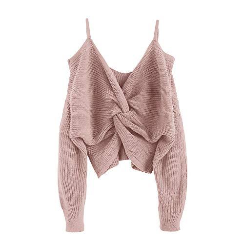 ZAFUL Damen Sexy Trägerlose Schulter Verknotet Locker Strickpullover Tumblr Sling Top Kurz Pullover (L, Rosa)