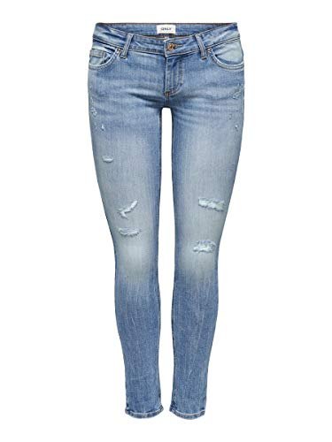 ONLY Damen Skinny Fit Jeans ONLCoral SL Destroy 2830Medium Blue Denim