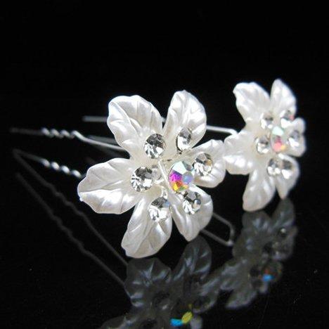 Power of Parfumes Miya® 4stück pour princesse haute qualité superbe blanc fleurs cheveux spirales en perles strass, Mariée Mariage Cérémonie épingles