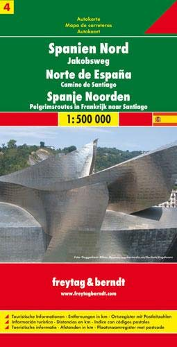 Freytag Berndt Autokarten, Spanien Nord, Jakobsweg: 1:500.000 Touristische Informationen. Entfernungen in km. Ortsregister mit Postleitzahlen. (Blatt 4)