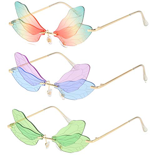 Paquete de 3 gafas de sol con alas de libélula sin montura y sombras irregulares de moda personalidad gradiente gafas de sol de fiesta para mujer (color: B)