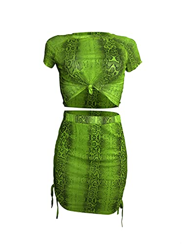 Womens Sexy Snakeskin Print Slim Fit Front Tied Crop Top Side Lace Up Skirt Set M Green