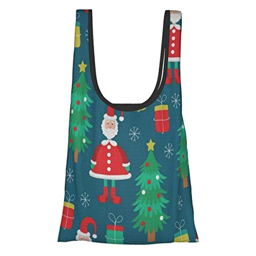 Happy New Year and Christmas Day - Santa Claus,Christmas Tree,Gifts Large Reusable Grocery Bags,XL Shopping Bags,Foldable,Washable,Sturdy,Big Reusable Bags Tote,Collapsible Grocery Bag Fo