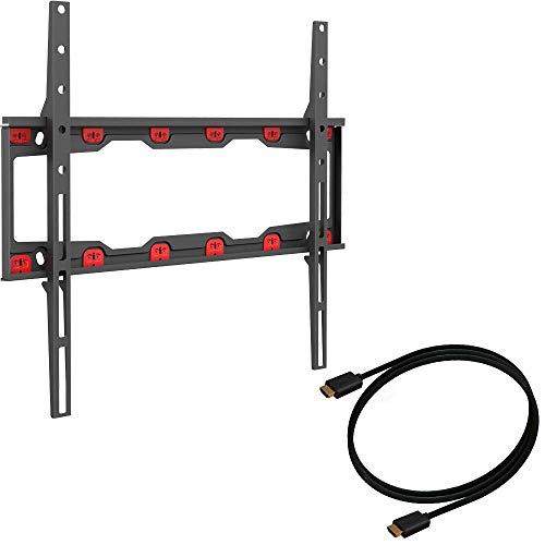 Barkan TV Wall Mount, 19 - 65 inch Fixed, Drywall No Stud No Drill Screen Bracket, Holds up to 71lbs, Auto Lock Patented, 5 Year Warranty , Fits LED OLED LCD, Including 6 ft 4K HDMI Cable Black