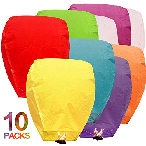 Maylai 10Pcs Chinese Lanterns Flying Paper Lanterns Chinese Wish Lanterns for Birthday Wedding Party Anniversary Assorted Colors 100% Biodegradable Environmentally Friendly!