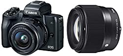 Canon EOS M50 24.1MP Mirrorless Camera (Black) with EF-M 15-45 is STM Lens + Sigma 56mm f/1.4 DC DN Contemporary Lens