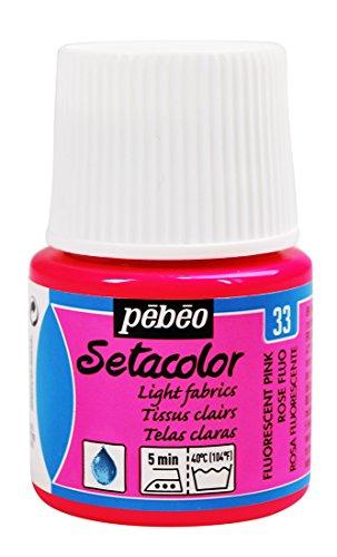 PEBEO Setacolor - Bote de Pintura para Telas Ligeras (45 ml), Color Rosa Fluorescente