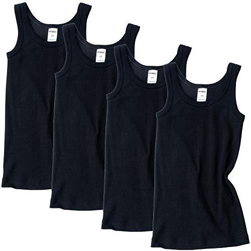 HERMKO 2800 4er Pack Jungen Unterhemd (Weitere Farben) Bio-Baumwolle, Farbe:schwarz, Größe:152
