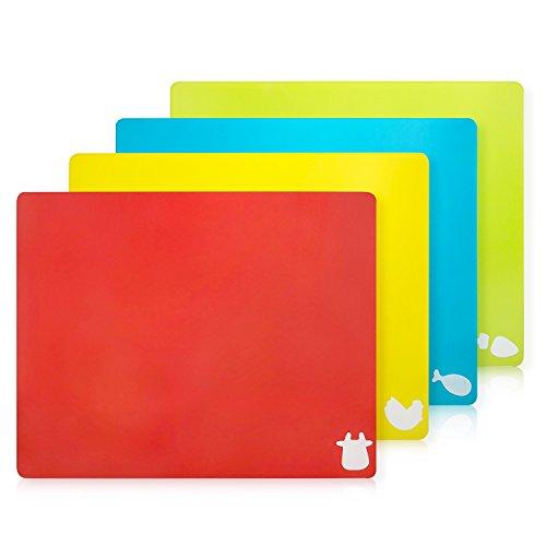 Set di 4 Taglieri Colorati da Cucina Plastica Flessibile Antibatterico Tagliere Professionali Lavabili in Lavastoviglie, 38×30cm