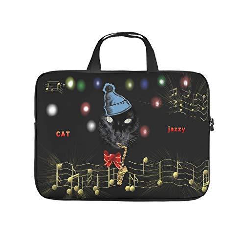 Suona - Bolsa para ordenador portátil, resistente al desgaste, diseño de gato, color negro