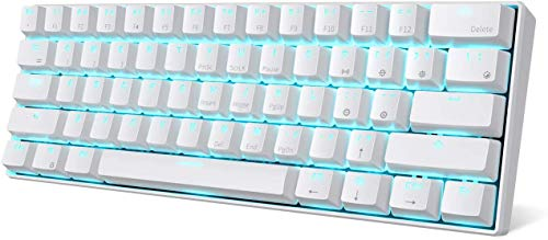 RK ROYAL KLUDGE RK61 Wireless 60% Mechanical Gaming Keyboard, Ultra-Compact Bluetooth Keyboard with Linear and Quiet Red Switch, Compatible for Multi-Device Connection, White