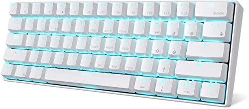 RK ROYAL KLUDGE RK61-US QWERTY Kabelgebundene/Bluetooth 60{adb916c1e0ea044fd88ba1361cde2df4fb650410b86a184dfad72d9a5299a72d} Mechanische Tastatur, ABS Tastenkappen, Braune Schalter, für IOS, Android, Windows und Mac, Weiß