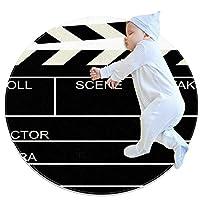ソフトラウンドエリアラグ 70x70cm/27.6x27.6IN 滑り止めフロアサークルマット吸収性メモリースポンジスタンディングマット,映画黒板