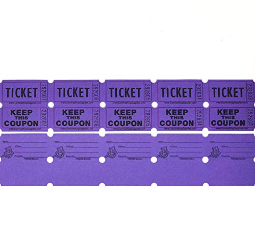 Rmix 100 Purple Raffle Tickets Double Roll 50/50 Carnival Fair Split The Pot One Hundred Consecutively Numbered Fundraiser Festival Event Party Door Prize Drawing Perforated Stubs