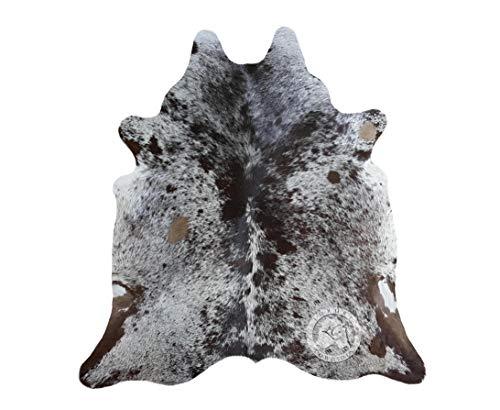 Sunshine Cowhides Teppich aus Kuhfell, Farbe: Salz und Pfeffer Braun & Weiß, Größe 190 x 160 cm, Premium - Qualität von Pieles del Sol aus Spanien