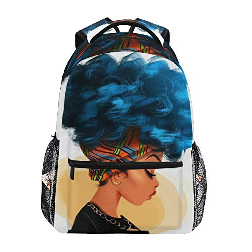 Ovilsm Mochilas Tipo Casual African Women with Blue Hair Hairstyle School Backpack Lightweight Large Capacity Daypack Bookbags Travel Bag for College Student Laptop