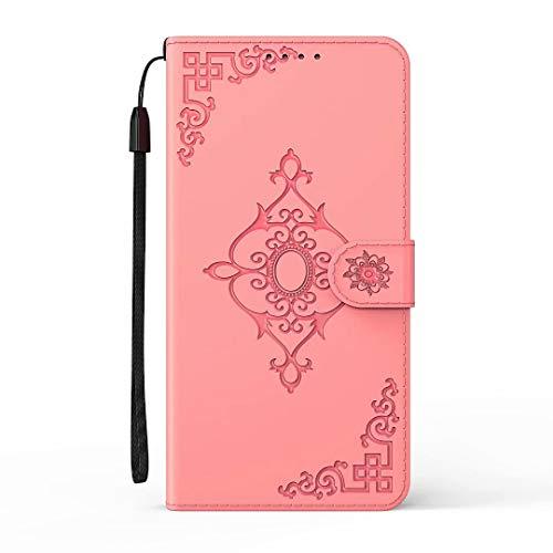 Huawei Y5p Hülle, Stoßdämpfung, Flip PU Leder Floral Wallet Handyhülle Folio Slim Fit Magnetische Schutzhülle TPU Bumper mit Ständer Kartenfächer für Huawei Y5p Pink