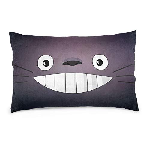My Neighbor Totoro - Funda de almohada de cara de dibujos animados suave y cómoda, tamaño estándar, hecha de poliéster con estampado de doble cara, varios 50,8 x 76,2 cm