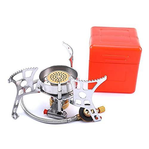 DSFSAEG Estufa de gas portátil Camping mini estufa de camping con encendido piezoeléctrico gas de emergencia a prueba de viento quemador partido para picnic