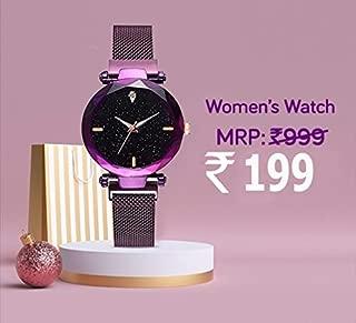 Avicii Single Diamond Series Purple Megnatic Watch for Girl's and Women's Pack of - 1(AV190)