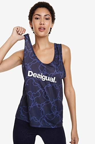 Desigual Camiseta Camoflower para Mujer, Mujer, Camiseta, 19SOTK04, Azul, S