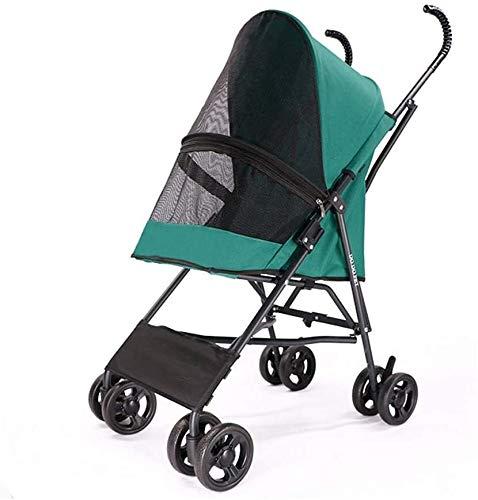 BESTPRVA Cochecito de bebé portable del carro del cochecito de bebé cochecito recorrido del animal doméstico del perro del gato portátil plegable Silla de paseo Carretilla jaula de cuatro ruedas de ga