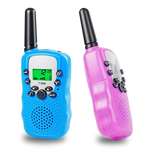 Ranphykx Kids Walkie Talkies, Walkie Talkies for Kids Toys with Backlit LCD Flashlight, 22 Channels 2 Way Radio, 3 Miles Range for Outside, Camping, Hiking (Blue&Pink)