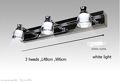 5151BuyWorld wandlamp voor de badkamer, modern design, met LED-licht, spiegel van roestvrij staal, frontlamp, 2 Heads, 3 koppen.