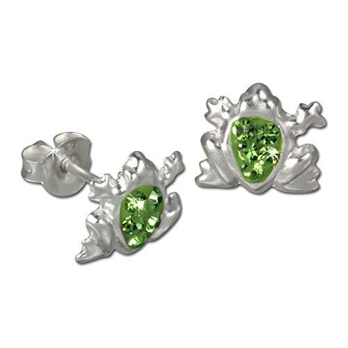 Teenie-Weenie Ohrstecker für Kinder 925 Silber grün Frosch Ohrringe D3SDO8005L Silber Ohrschmuck für Kinder