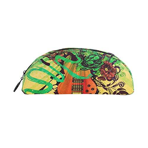 JinDoDo - Estuche portátil para lápices, diseño retro de guitarra, flores, semicircular, bolsa de almacenamiento para adolescentes y adultos