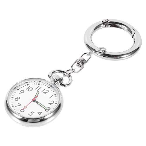 Tomaibaby Enfermera Reloj de Bolsillo de Acero Inoxidable Enfermera Solapa Pin Reloj Médicos Relojes Colgantes Enfermera Reloj Llavero Fob Reloj con Llavero para Estudiantes Enfermera