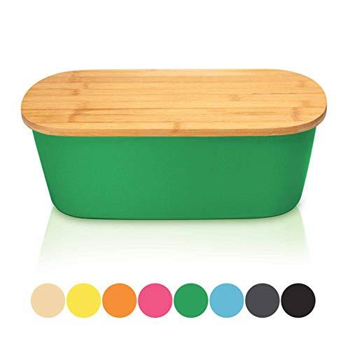 bambuswald© Brotbox mit integriertem Schneidebrett 38x21,5x12 cm - Brotdose | Brotkasten für Croissants, Brot o. Brötchen | Brotbehälter mit Küchenbrett | Brotbrett Dunkelgrün