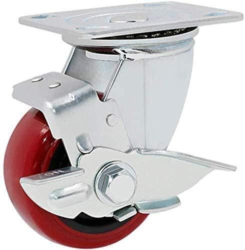 Ruedas industriales de 10,16 cm, resistente, con ruedas de freno (color: rueda de freno lateral)