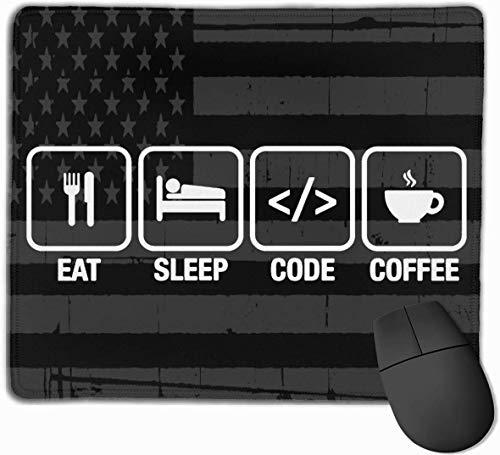 Essen Sie, schlafen Sie, kodieren Sie, Kaffee mit USA-Flagge Mousepad Rutschfeste Spiel-Mausunterlage Mousepad