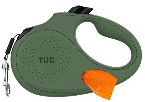 TUG Ovale 360° verwicklungsfreie einziehbare Hundeleine mit integriertem Kotbeutelspender (Medium, Grün)