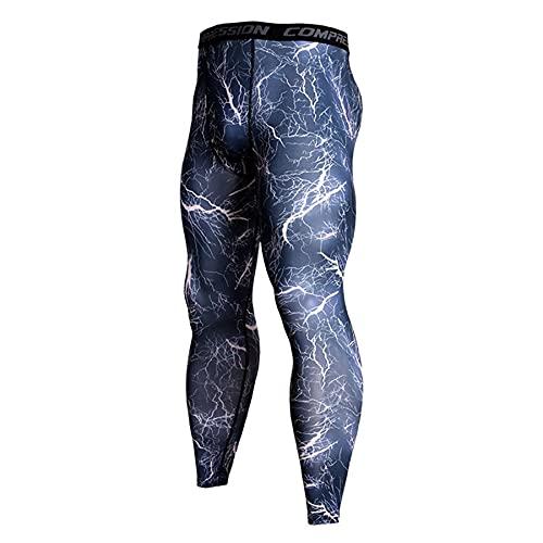 Ducomi Mallas de compresión para hombre y mujer, para correr y yoga, elásticas, para fitness, para niños, transpirables, ligeras, para correr, hacer deporte o gimnasio, Blue Lighting, M